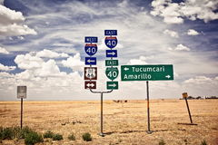 Route 66 intersection signs. In Adrian, Texas Stock Images