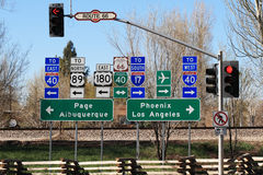 Route 66 interstectiontekens Stock Afbeelding