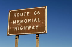 Route 66 Memorial Highway Sign Royalty Free Stock Photos