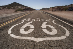 Route 66 mojave. Route 66 sign on highway in mojave desert Royalty Free Stock Photos
