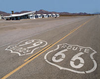 Route 66 Mojave Desert. Route 66 sign with googie motel background in California's Mojave Desert Stock Photo