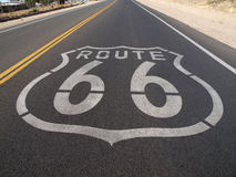 Route 66 Pavement Sign. Route 66 sign painted onto the road pavement Royalty Free Stock Images