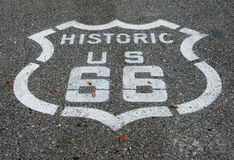 Route 66 road. Route 66 sign on asphalt road Stock Photos