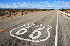 Route 66 road. Leads towards the distant horizon in southern california Royalty Free Stock Photography