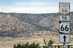 Route 66 Road sign. Historic Route 66 road signs along Arizona highway with space alloted for text Royalty Free Stock Image