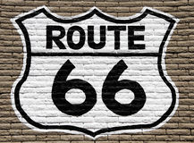 Route 66 sign. American route 66 sign painted on wall Stock Images