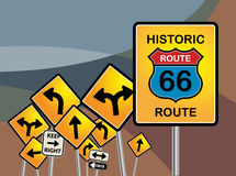 Route 66 sign. S on abstract background stock illustration