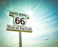 Route 66 Sign. Historic Route 66 sign at Santa Monica California stock image