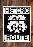 Route 66 Sign Close Up. Close up of historic route 66 sign on weathered barnwood Royalty Free Stock Photography