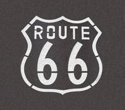 Route 66 Straight Down. Route 66 pavement sign, straight down angle Royalty Free Stock Images