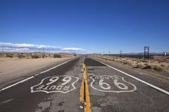 Route 66 Woestijn Mojave Stock Afbeeldingen