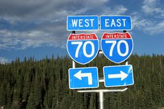 Route 70 road sign. With arrows Royalty Free Stock Photos