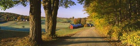 Route aboutissant à travers la ferme. images stock
