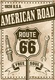 Route 66 affisch i tappningstil royaltyfri illustrationer