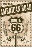 Route 66 affisch i tappningstil Royaltyfri Illustrationer