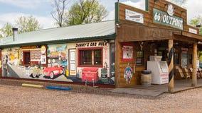 Route 66: Allmänt lager för utpost som fläktar, MO Arkivbild
