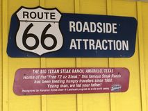 Route 66 Amarillo Texas. Roadside attraction historic steak ranch restaurant Stock Image