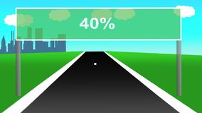 Route animée avec le panneau routier comme pourcentages Boucle sans couture 4k banque de vidéos
