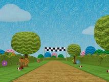 Route appareil-photo de scène de jeu électronique d'amusement de niveau de jeu de finition au bas Images libres de droits