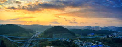 Route au lever de soleil Photos libres de droits
