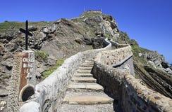 Route au sanctuaire de San Juan de Gaztelugatxe photos libres de droits