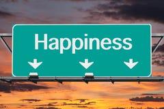 Route au signe d'autoroute de bonheur Images libres de droits