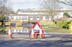 Route avec de l'eau de la crue, Basingstoke Photo libre de droits