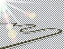 Route avec l'inscription jaune, volumétrique dans la perspective Résumé sunlight Fond de contrôleur Illustration illustration stock