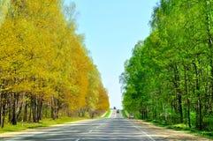 Route avec la borne des saisons image libre de droits