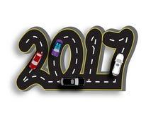 Route avec une inscription sous forme d'inscriptions 2017 3d Vecteur de véhicules Illustration Photographie stock libre de droits