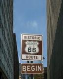 Route 66 början: Illinois/USA 66 sköld Fotografering för Bildbyråer