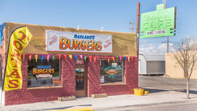 Route 66: Badland's Burgers; historic Uranium Cafe neon sign, Grants, NM Stock Photos