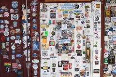 Route 66, Bagdad Cafe, Newberry Springs, stickers. NEWBERRY SPRINGS, CA, USA - MARCH 19, 2016: Stickers put on a wall by visitors of the Bagdad Cafe, Newberry Stock Images