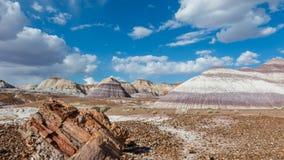 Route 66: Blauwe Mesa, Geschilderde Woestijn, AZ royalty-vrije stock fotografie