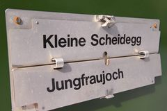 Route board sign at the train heading to Jungfraujoch, Switzerland Stock Image