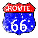 Route 66 Bullet Holes. Route 66 traffic sign with grunge and bullet holes Stock Images