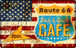 Route 66 cafe enamel sign,. Route 66 cafe sign, stars and stripes, retro style, vector illustration,fictional artwork vector illustration