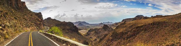 ROUTE 66 - CALIFORNIA / ARIZONA - PANORAMA - AERIAL VIEW. MOUNTAINS, ROCKS, ROAD, TREES royalty free stock images