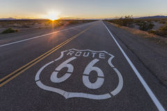 Route 66 California Desert Sunset. Route 66 highway sign sunset in the California Mojave Desert Royalty Free Stock Photography