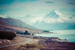 Route cinématographique pour monter le cuisinier, Nouvelle-Zélande Images stock
