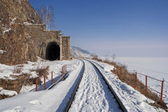 Route Circum-Baikal d'hiver Photographie stock libre de droits