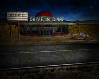 Route 66 Closed Business Illustration. Illustration concept for a closed, bankrupt business or a vintage fast food restaurant venue on the old Route 66 highway Royalty Free Stock Photos