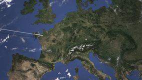 Route of a commercial plane flying to Munich, Germany on the map. Intro 3D animation