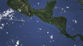 Route of a commercial plane flying to San Salvador, El Salvador on the map. Intro 3D animation