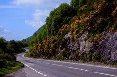 Route Curvey dans les montagnes écossaises Photographie stock libre de droits
