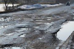 Route détruite Image libre de droits