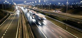 Route d'accès contrôlé de quatre ruelles en Pologne Photos stock