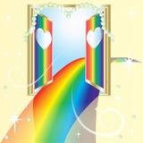 Route d'arc-en-ciel de l'amour, une porte ouverte Image stock