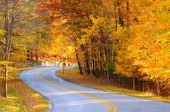 Route d'automne avec le randonneur Images stock
