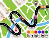 Route d'enroulement avec des signes Carte de ville Mouvement des véhicules Le chemin spécifie le navigateur Illustration Photo stock